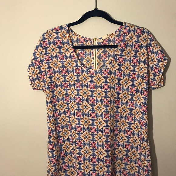 Tops - Colorful Patterned Blouse with Zipper on Back
